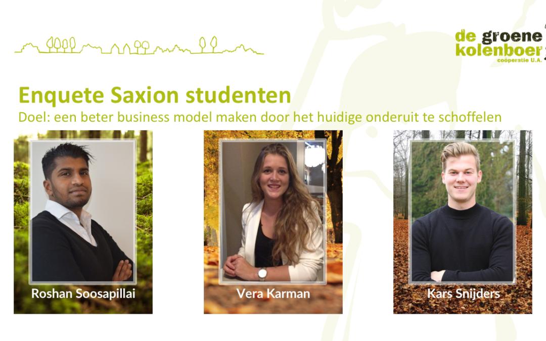 Saxion studenten commerciële economie lichten businessplan De Groene Kolenboer door